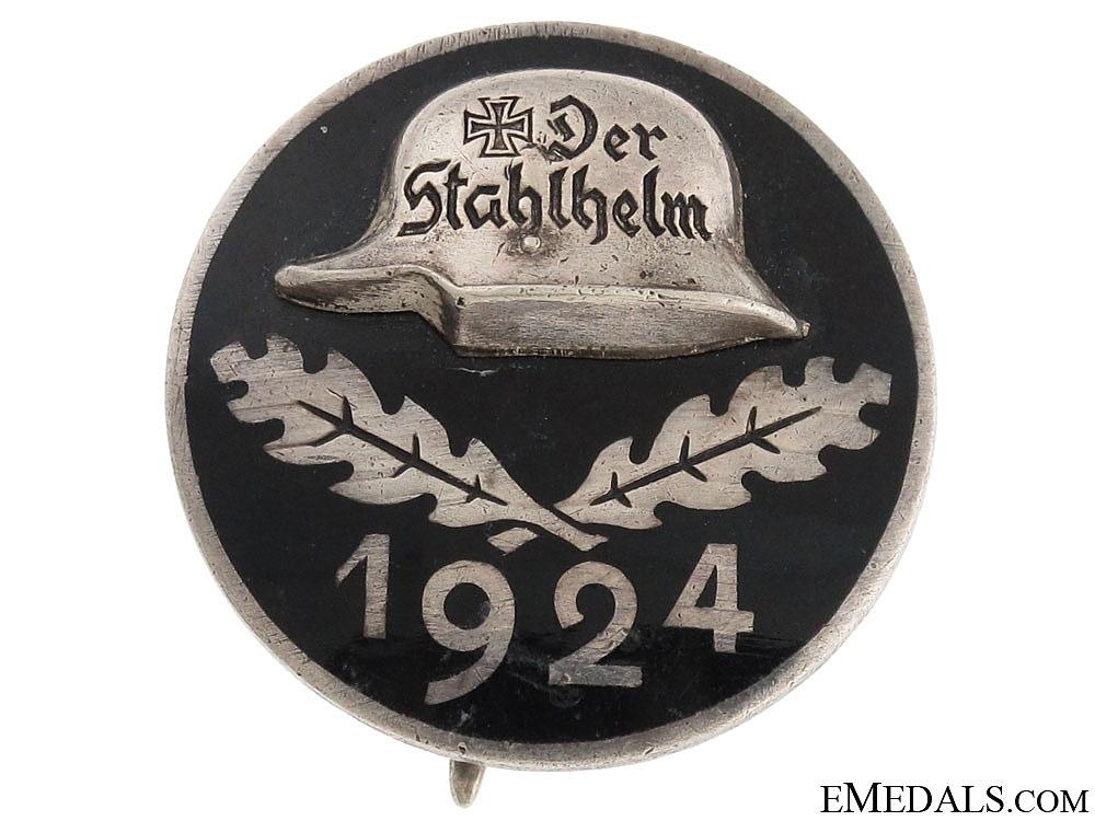 eMedals-Stahlhelm Membership Badge 1924 - Engraved