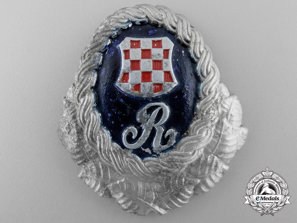 eMedals-A Second War Croatian Police Guardsmen Cap Badge