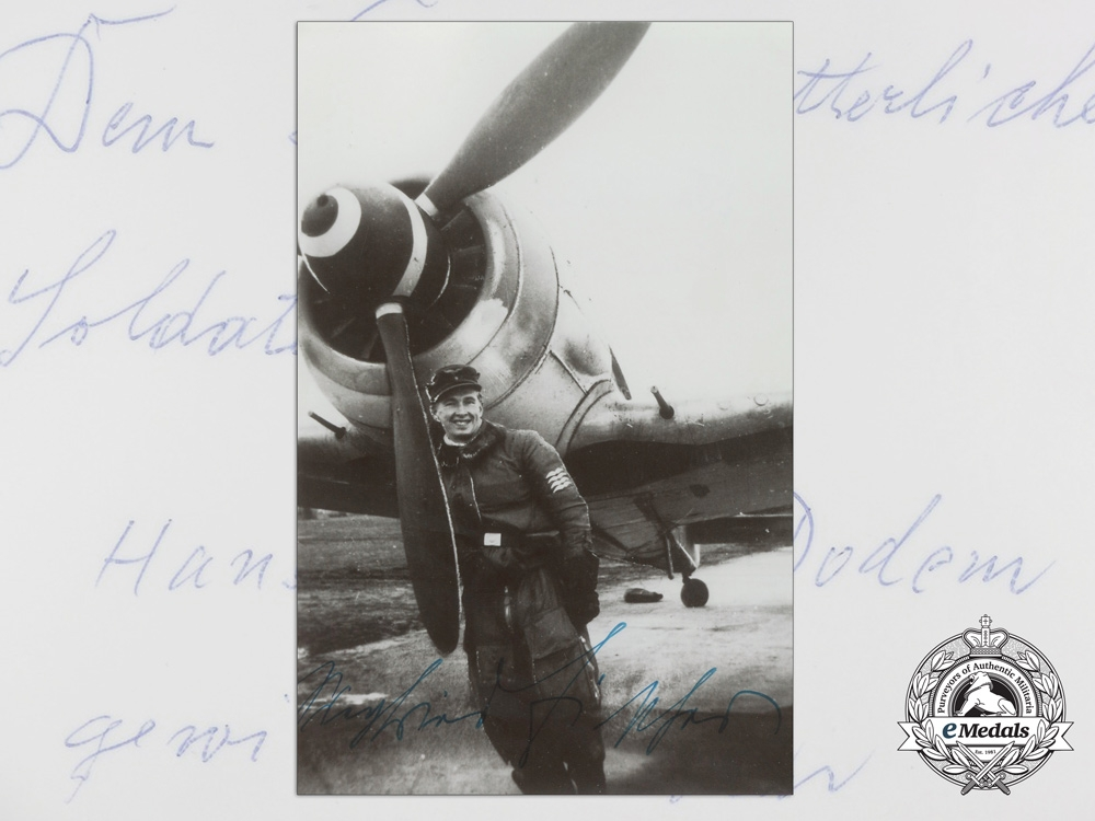eMedals-A Post War Signed Photograph of Knight's Cross Recipient; Siegfried Fischer