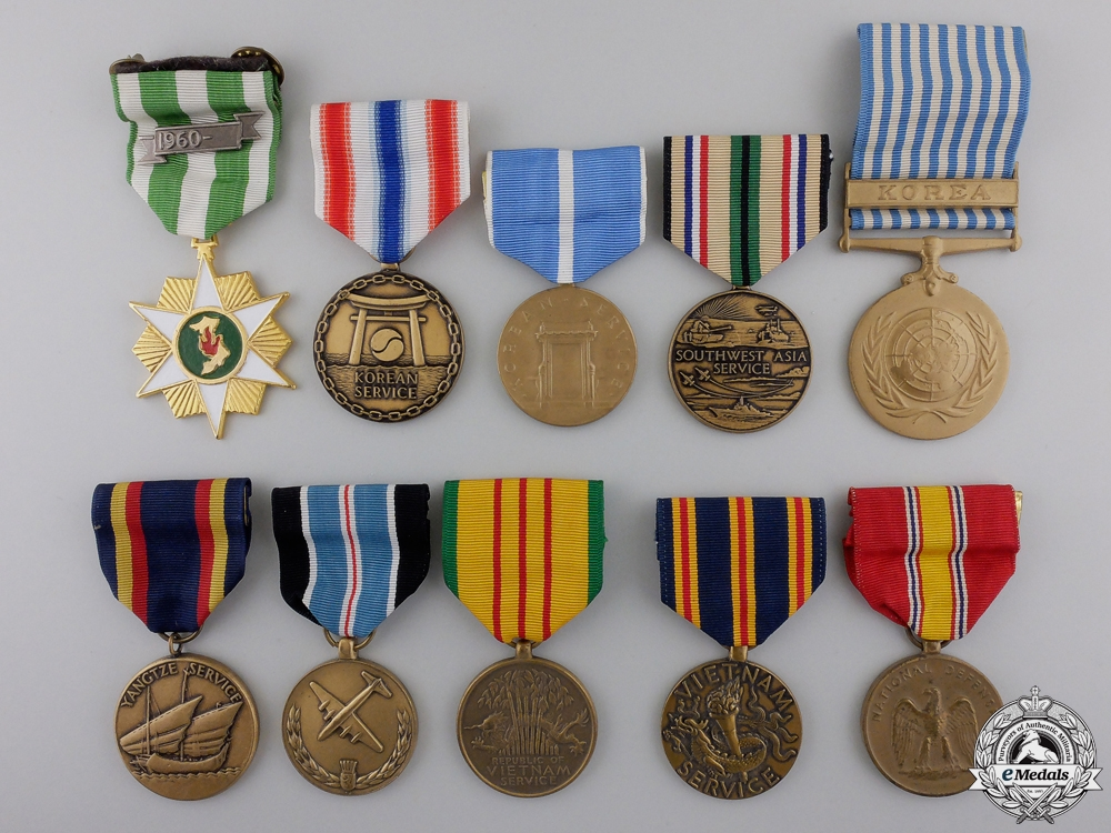 eMedals-Ten American Campaign and Service Medals