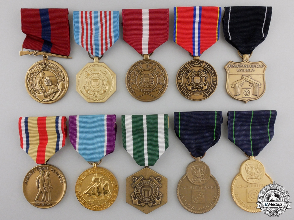 eMedals-Ten American Coast Guard, Marine Corps, Navy Medals and Awads
