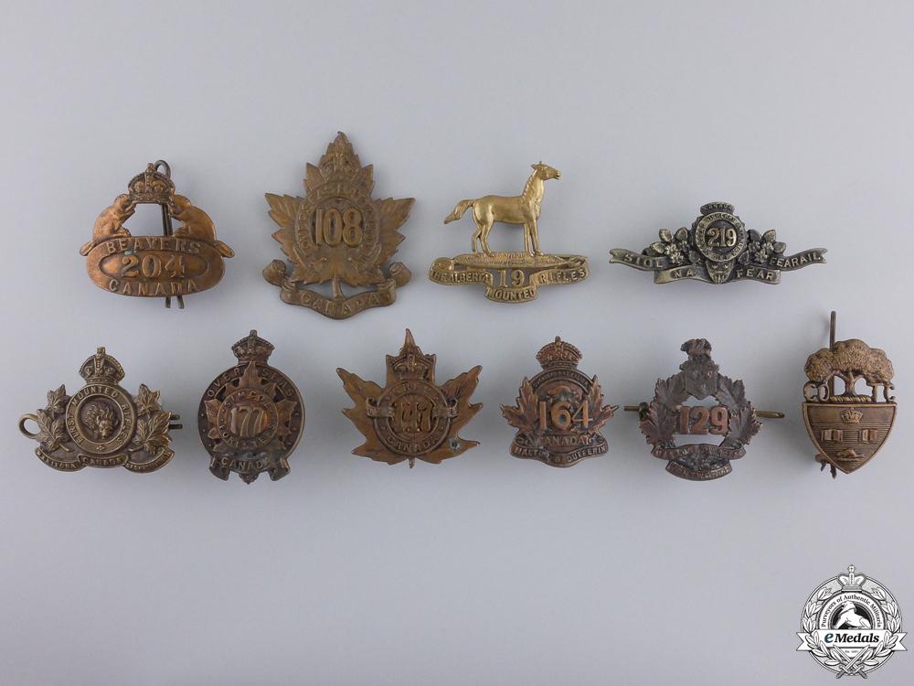 eMedals-Ten First War Canadian Collar Badges