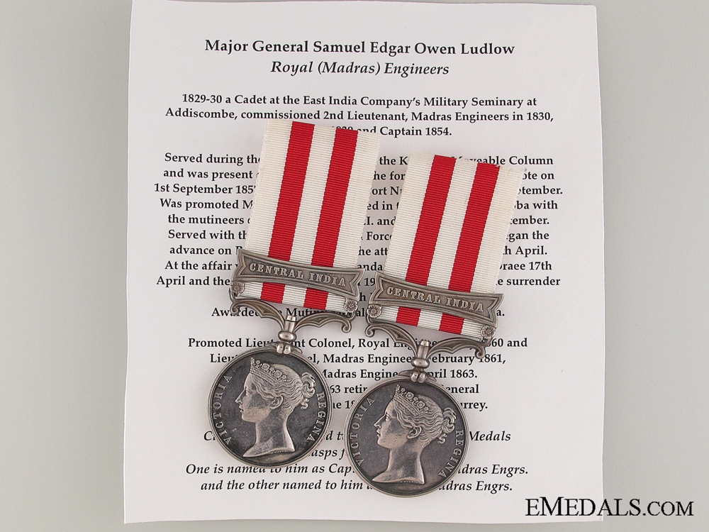 eMedals-The India Mutiny Medals of Capt & Major LUDLOW