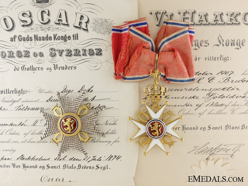 eMedals-The Royal Norwegian Order of St.Olav with Documents to R.E. Bredon 1894