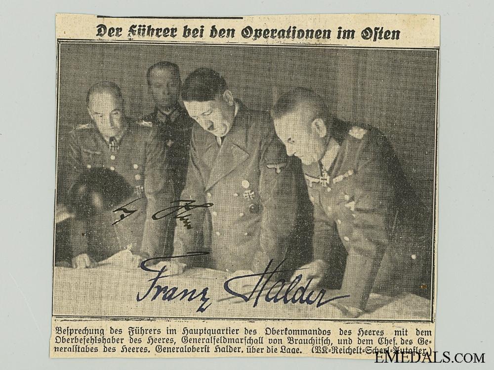 eMedals-The Signatures of AH And Franz Halder