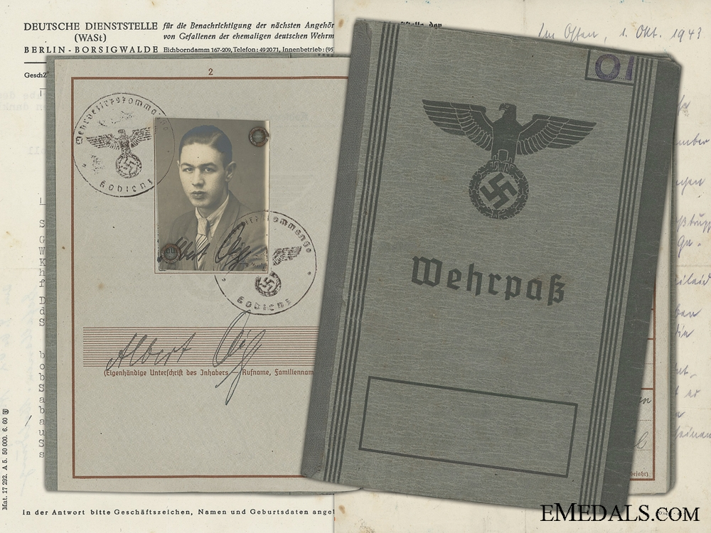 eMedals-The Wehrpass & Documents to 35th Motorised Panzer Grenadier KIA