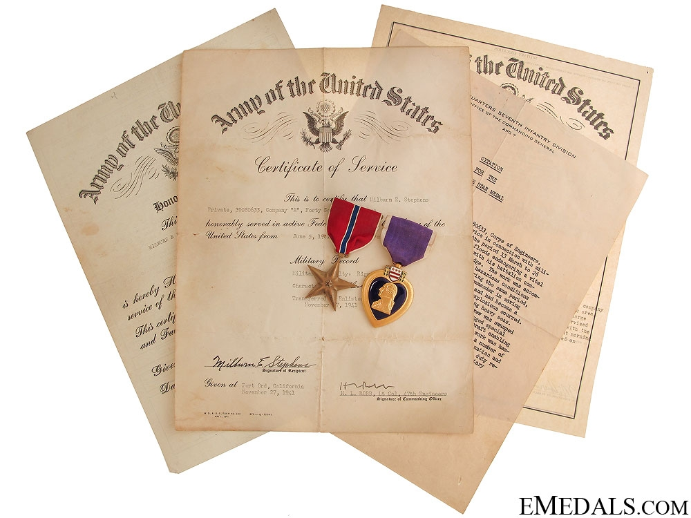 eMedals-The WWII US Awards of Sgt. Milburn Stephens