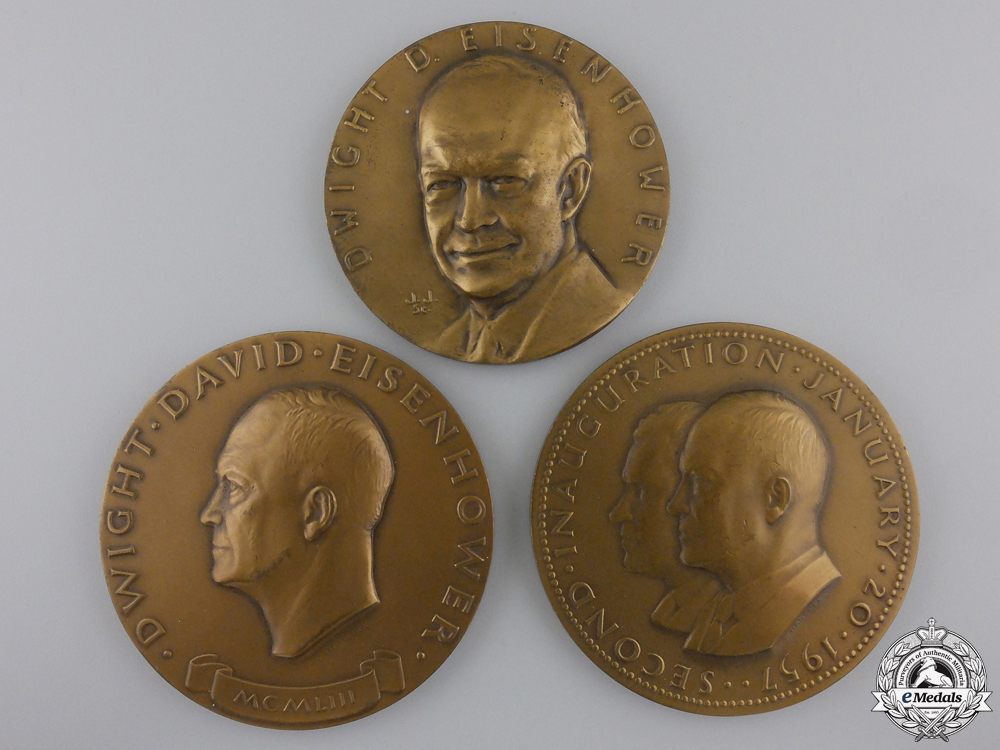 eMedals-Three American Dwight D. Eisenhower Table Medals