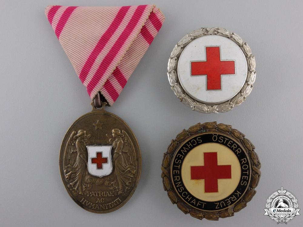eMedals-Three Austrian Red Cross Medals & Badges