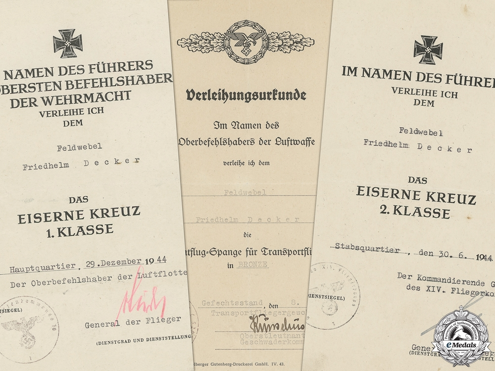 eMedals-Three Award Documents to Luftwaffe Feldwebel; Transportflieger