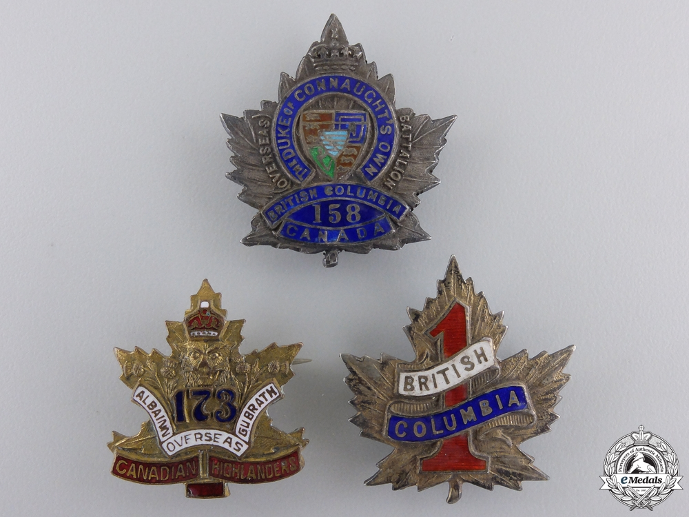 eMedals-Three First War Canadian Battalion Sweetheart Badges