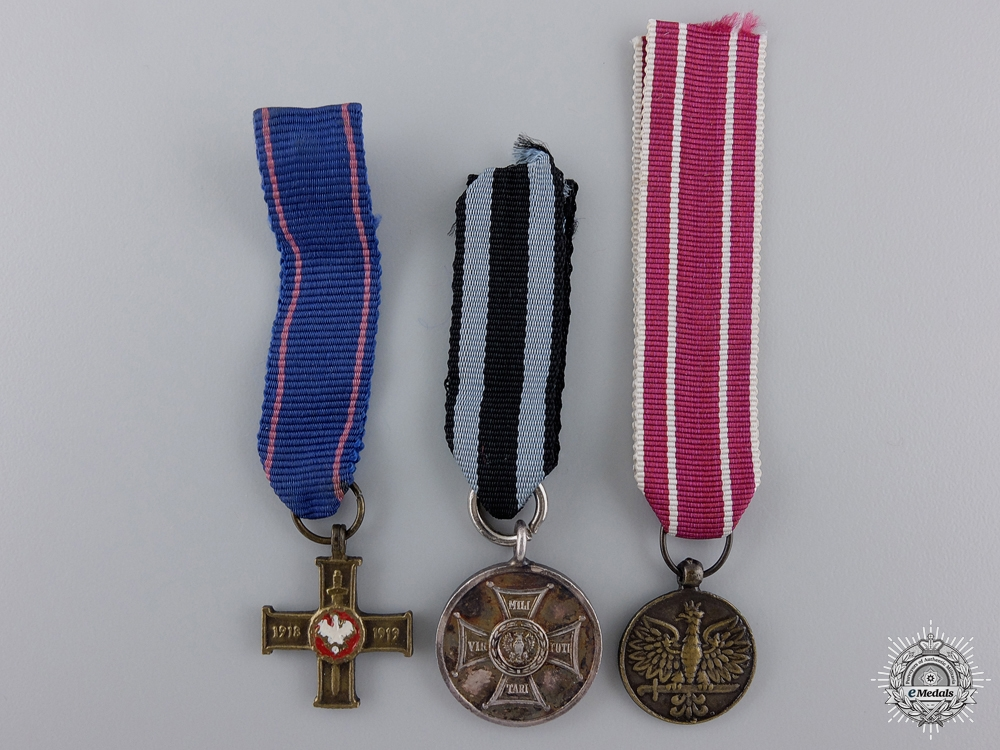 eMedals-Three Miniature Polish Awards and Medals