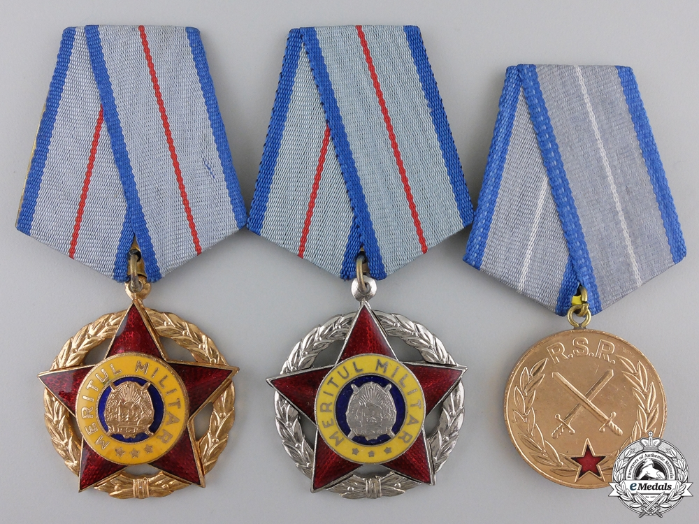 eMedals-Three Romanian Socialist Military Merit Awards
