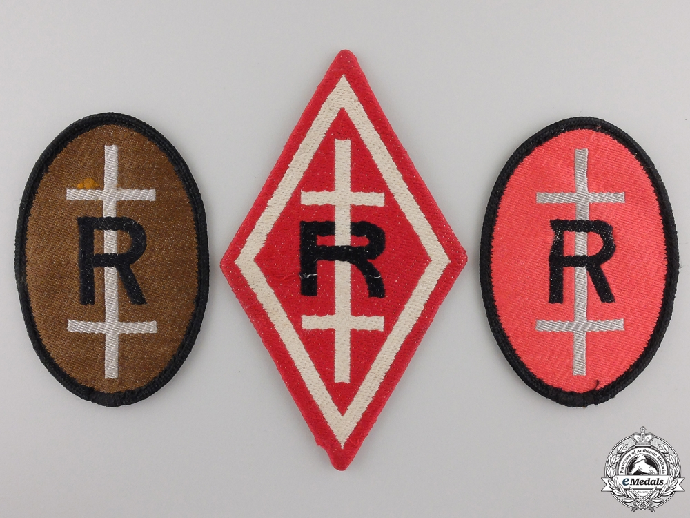 eMedals-Three Second War Free French Resistance Embroidered Patches