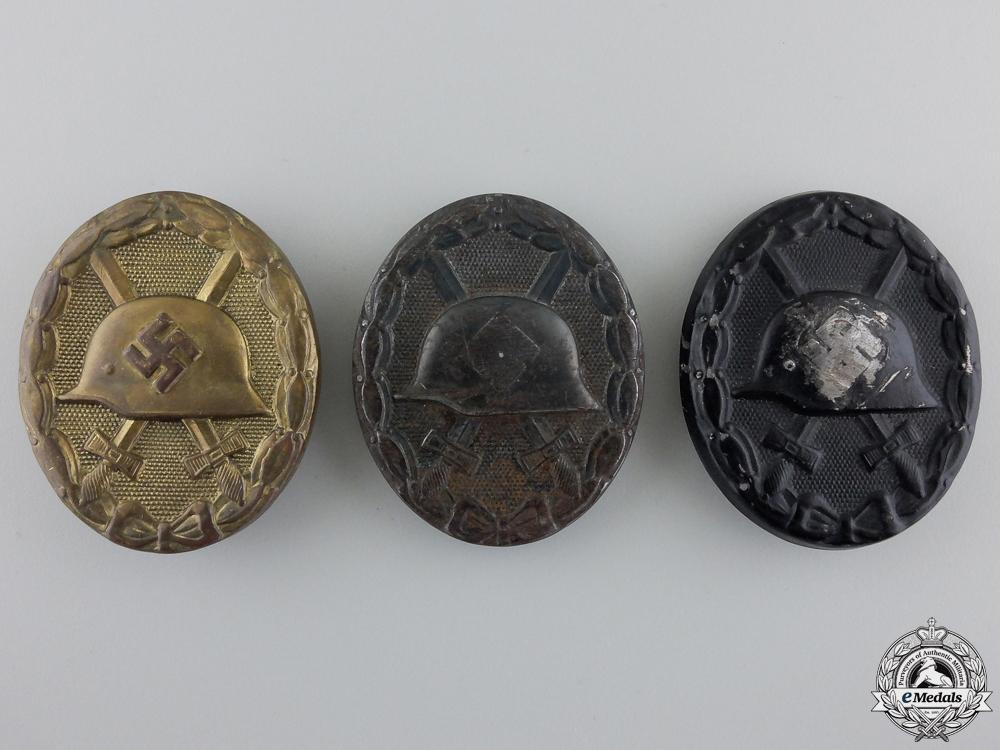 eMedals-Three Second War Black Grade Wound Badges