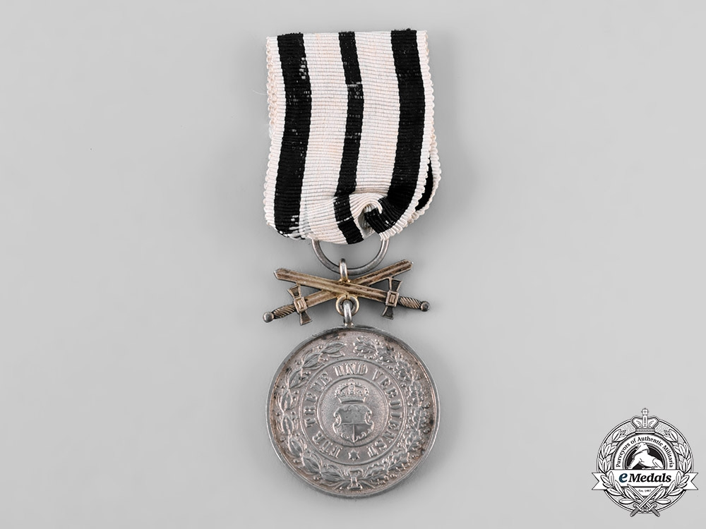 eMedals-Hohenzollern, State. A House Order of Hohenzollern SIlver Merit Medal with Swords, c.1914