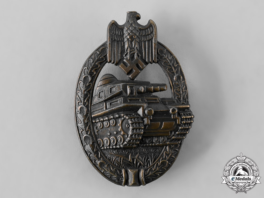 eMedals-Germany, Wehrmacht. A Panzer Assault Badge, Bronze Grade, by Adolf Scholze