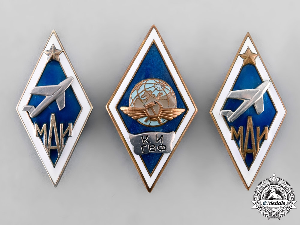 eMedals-Russia, Soviet Union. A Lot of Aviation School Graduation Badges