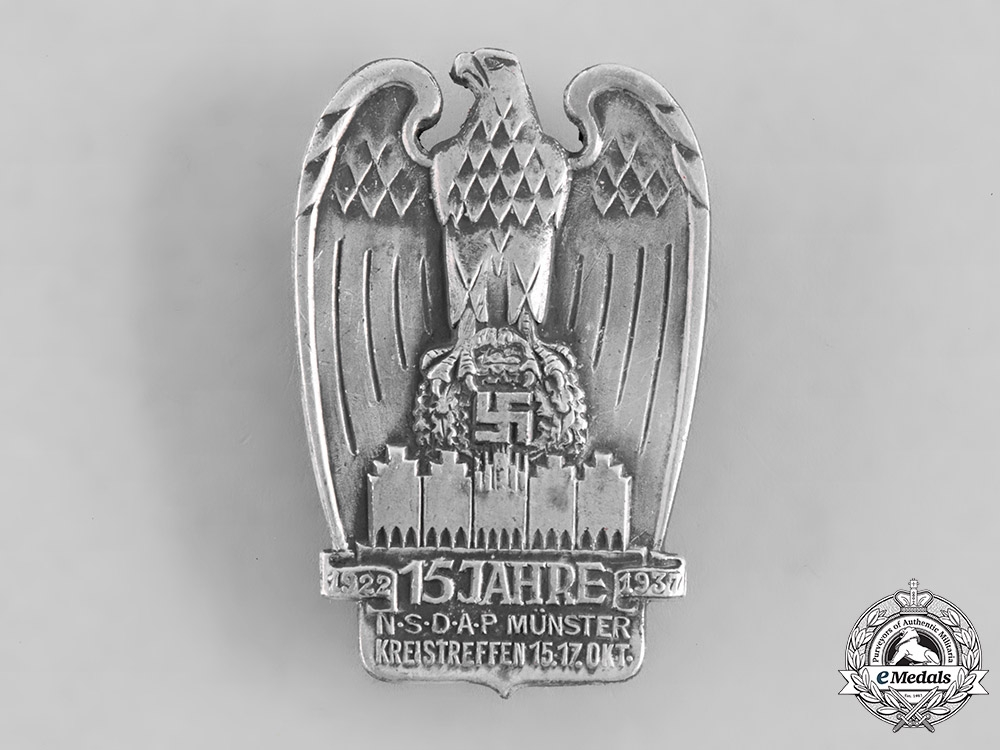 eMedals-Germany, NSDAP. A 1937 Münster NSDAP 15th Anniversary Badge