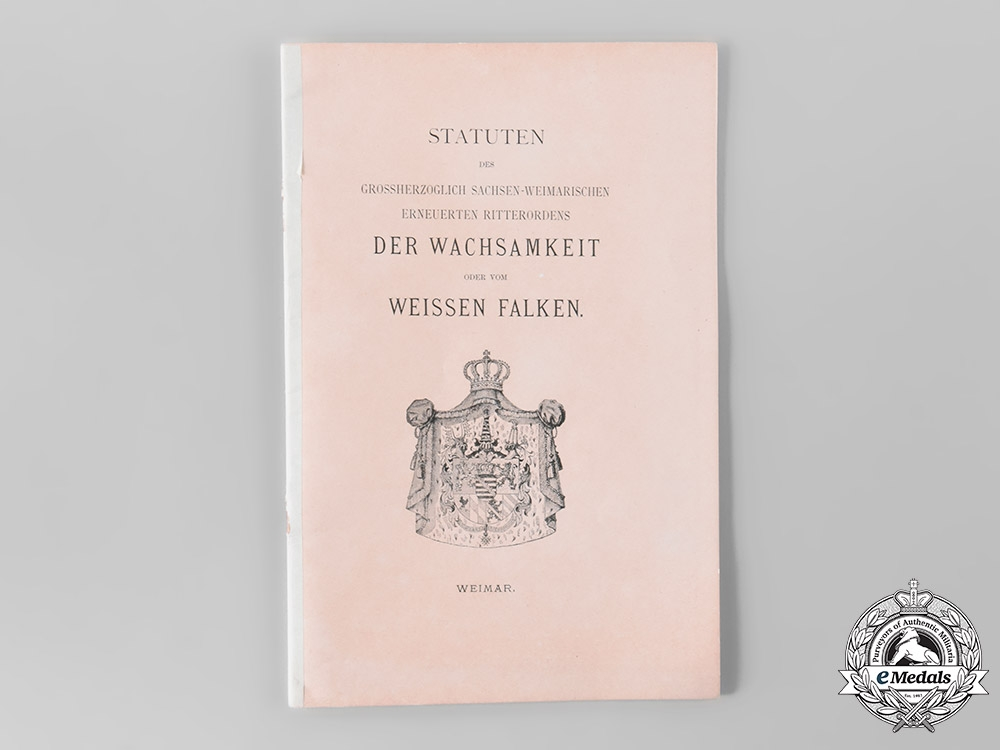 eMedals-Saxe-Weimar, Duchy. The Statutes of the House Order of the White Falcon