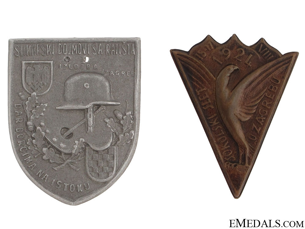 eMedals-Two Croatian WWII Period Badges