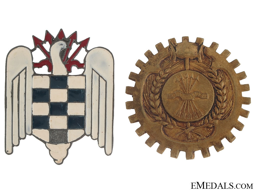 eMedals-Two early Franco period Falange Badges