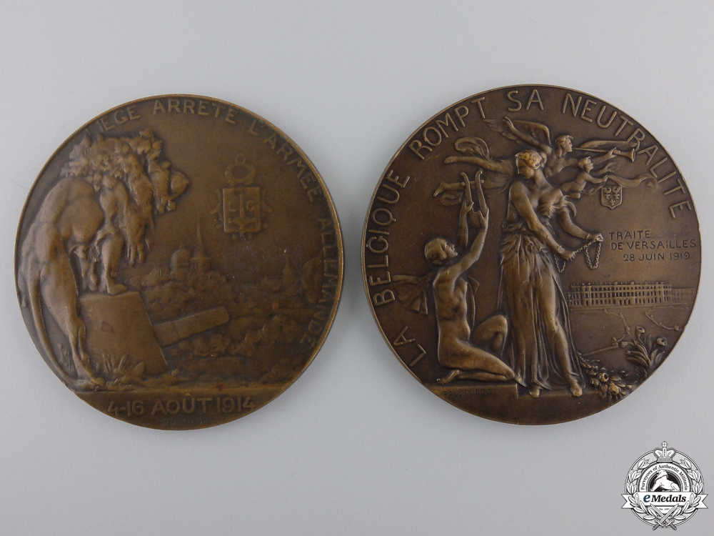 eMedals-Two First War Belgian Table Medals