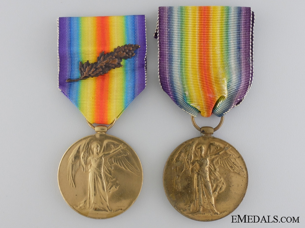 eMedals-Two First War Victory Medals; Royal Navy & Canadian Railway