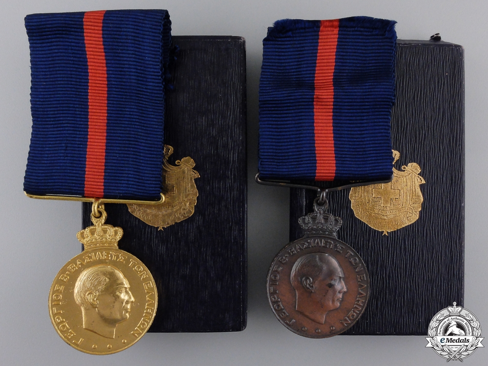 eMedals-Two Greek Army Long Service & Good Conduct Medals; 1st and 3rd Class