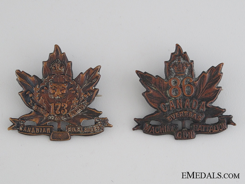 eMedals-Two Hamilton Infantry Battalions Collar Tabs CEF