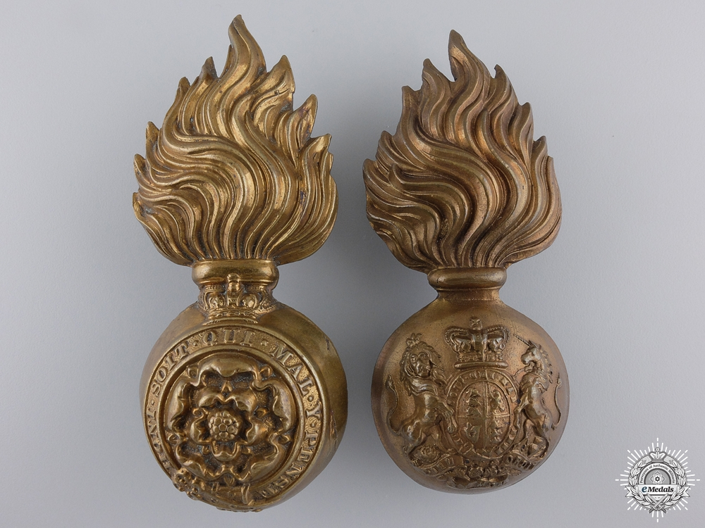 eMedals-Two Large Victorian Fusiliers Cap Badges