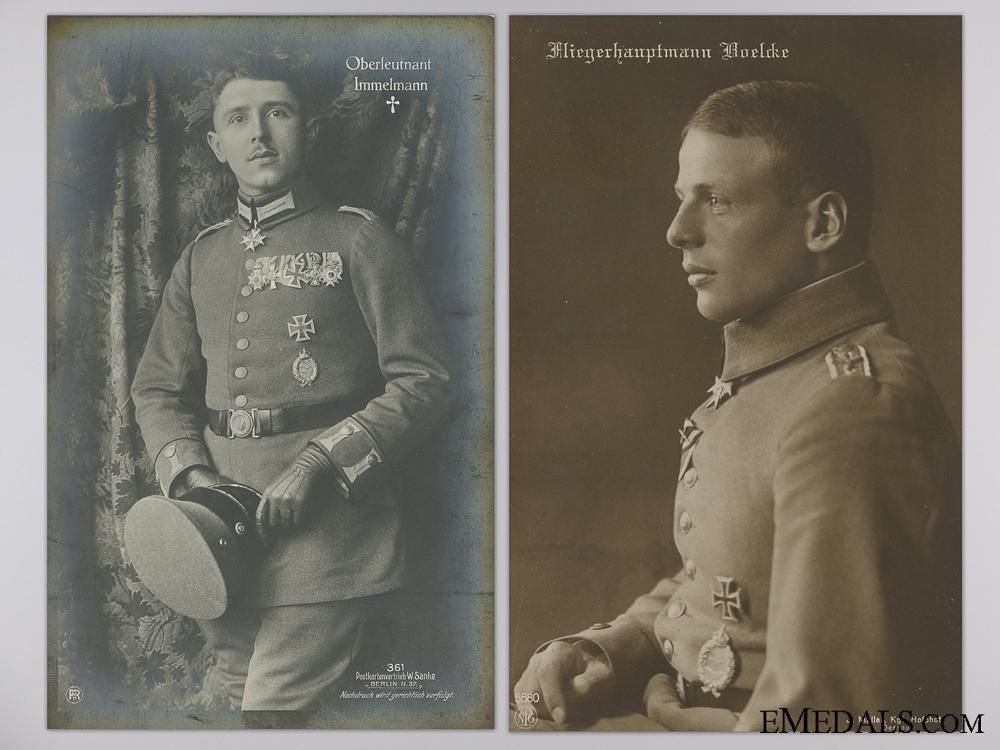 eMedals-Two Pour le Merite Award Recipient Pilot Studio Portrait Postcards