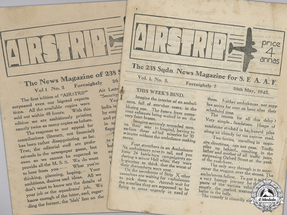 """eMedals-Two RAF """"Airstrip"""" News Magazines for 238 Squadron; SEAAF"""