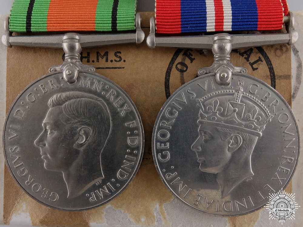 eMedals-Two Second War British Issue Service Medals with Container