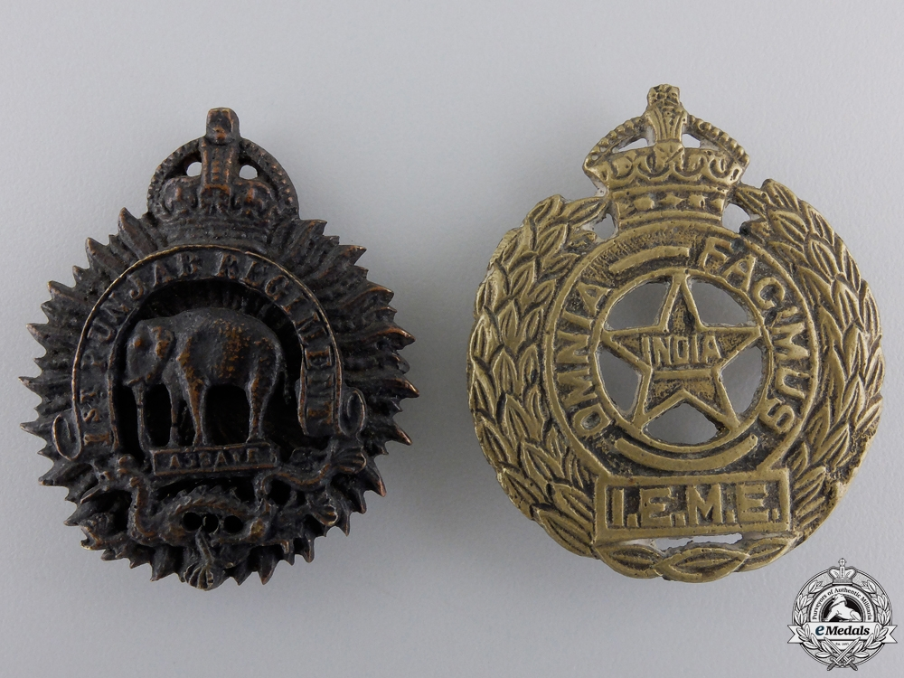 eMedals-Two Second War Indian Cap Badges