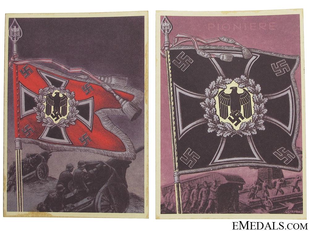 eMedals-Two Wehrmacht Battalion Standard Postcards