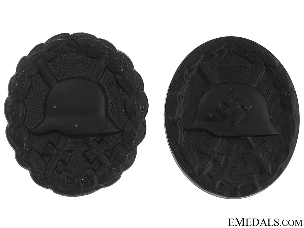 eMedals-Two Wound Badges Black Grade