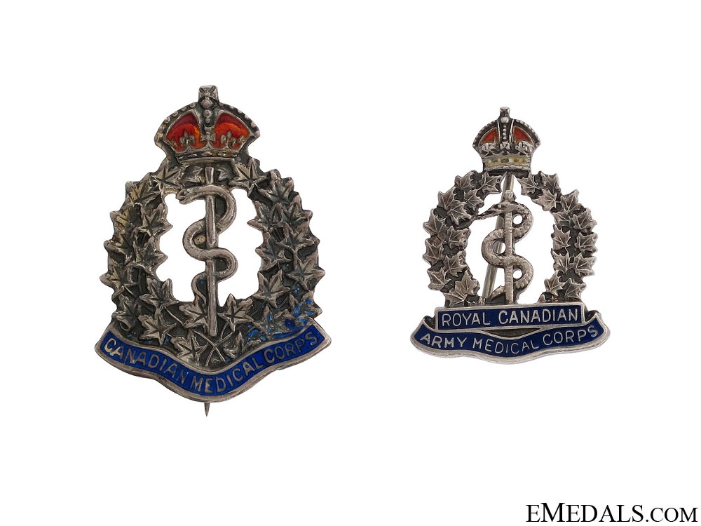 eMedals-Two WWI  Royal Canadian Medical Corps Pins