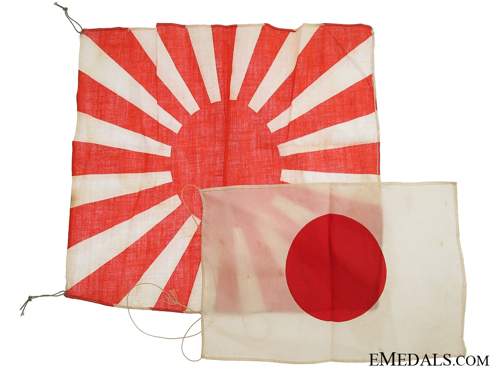 eMedals-Two WWII Japanese Patriotic Flags & Banner