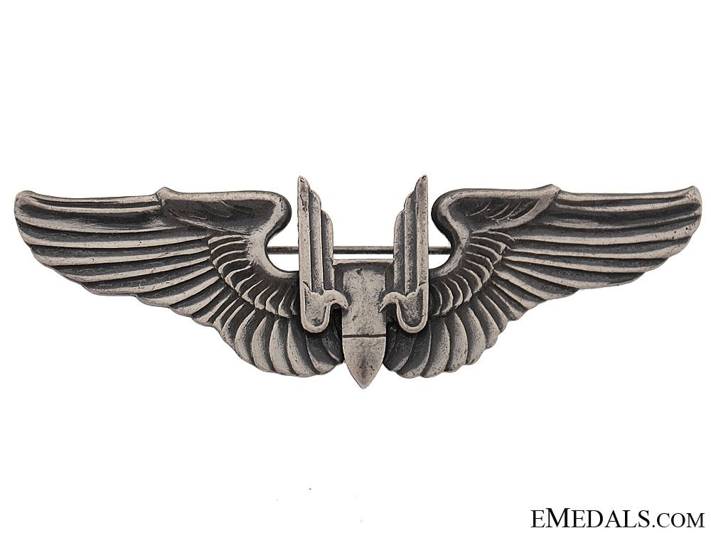 eMedals-WWII Issue Sterling Silver US Army Air Forces Gunner Wing