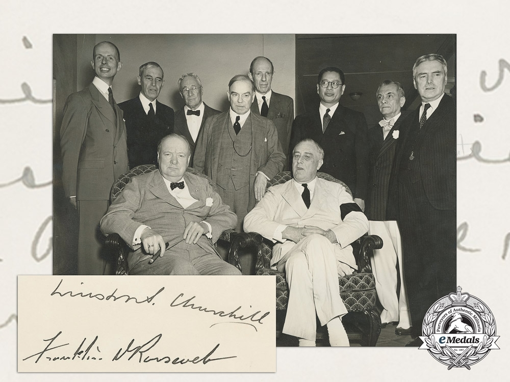 eMedals-A Most Rare Press Photo & Signatures of Churchill & Roosevelt at the 1942 Pacific War Council
