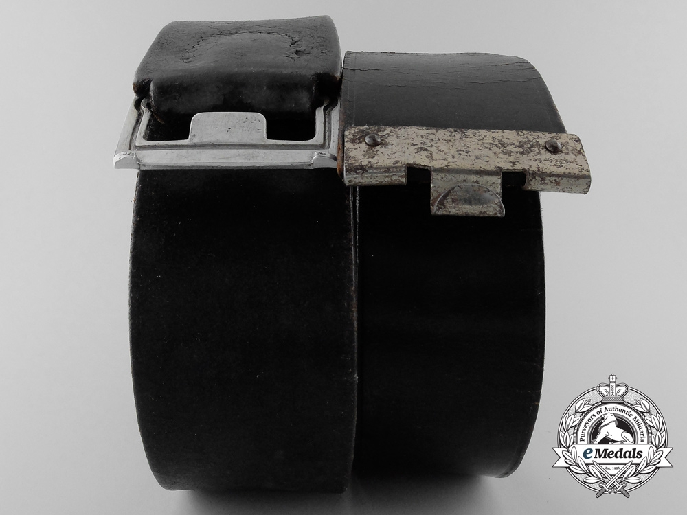 eMedals-Two German Black Leather Belts; Christian Theodor Dicke, Ludenscheid