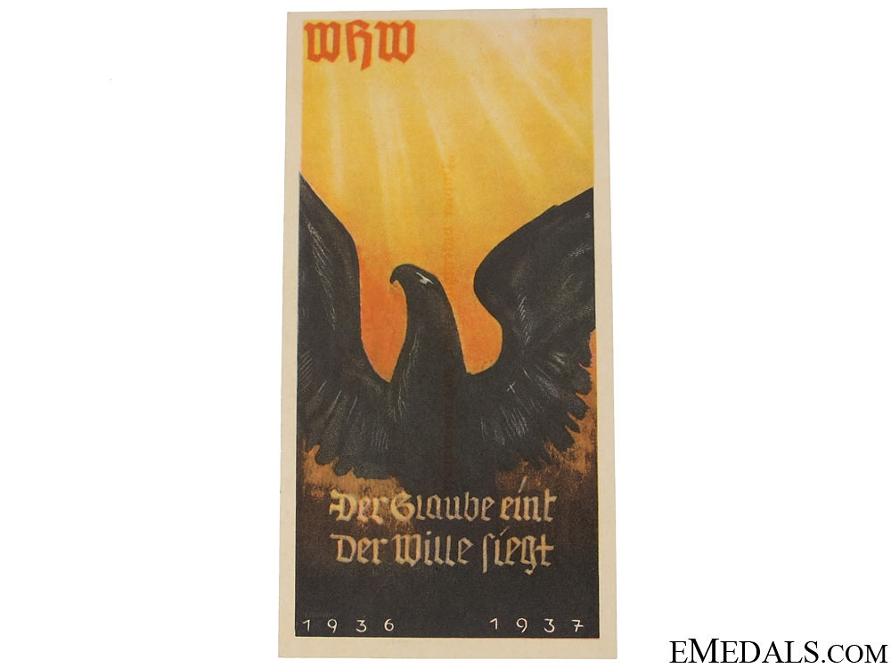 eMedals-Winterhilfswerk (WHW) The Belief in One's Will Wins Handout, 1936-1937