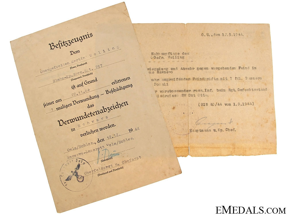 eMedals-wo Documents to Obergefreiten, Gren. Rgt. 257
