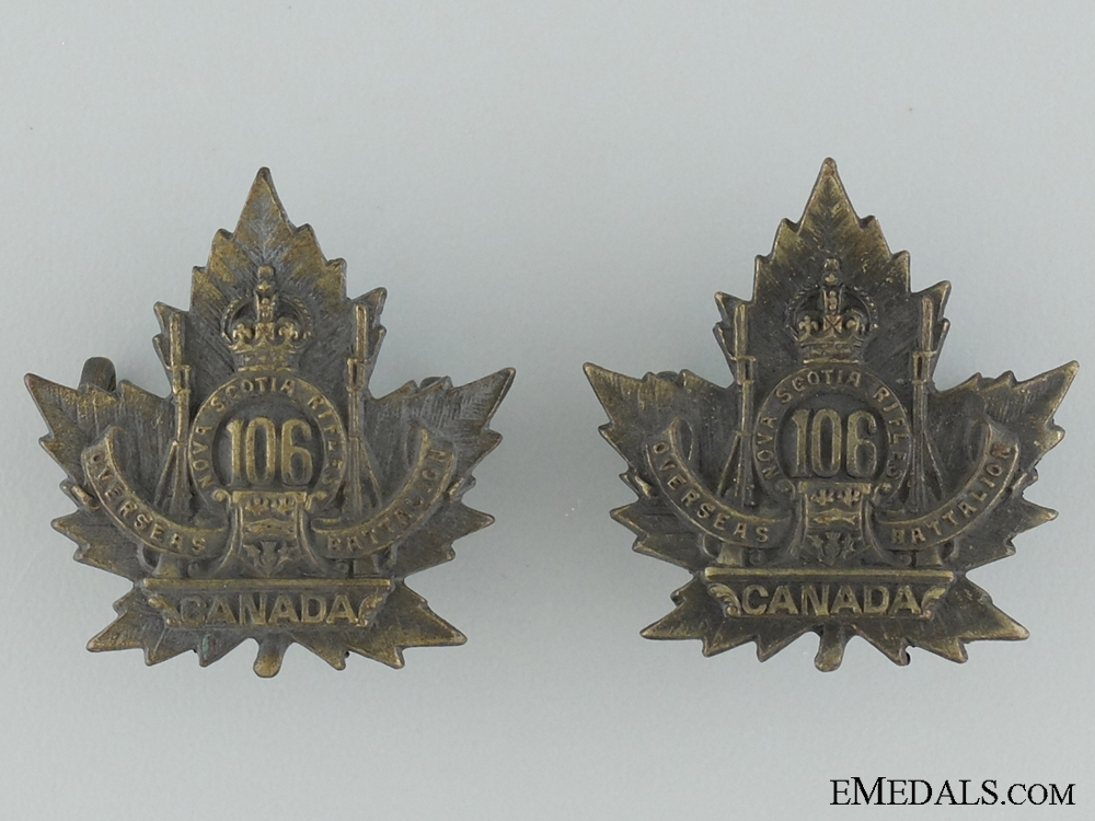 eMedals-WWI 106th Infantry Battalion Collar  Pair CEF