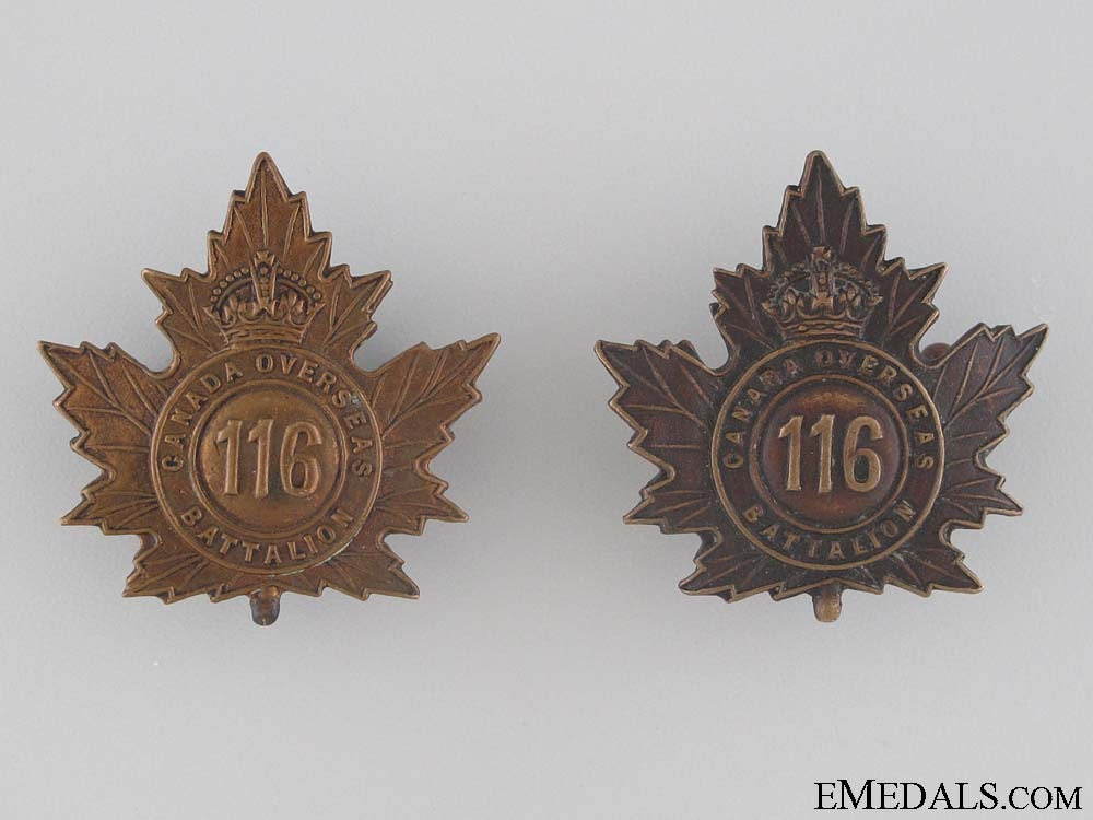 eMedals-WWI 116th Infantry Battalion Collar Tab Pair CEF