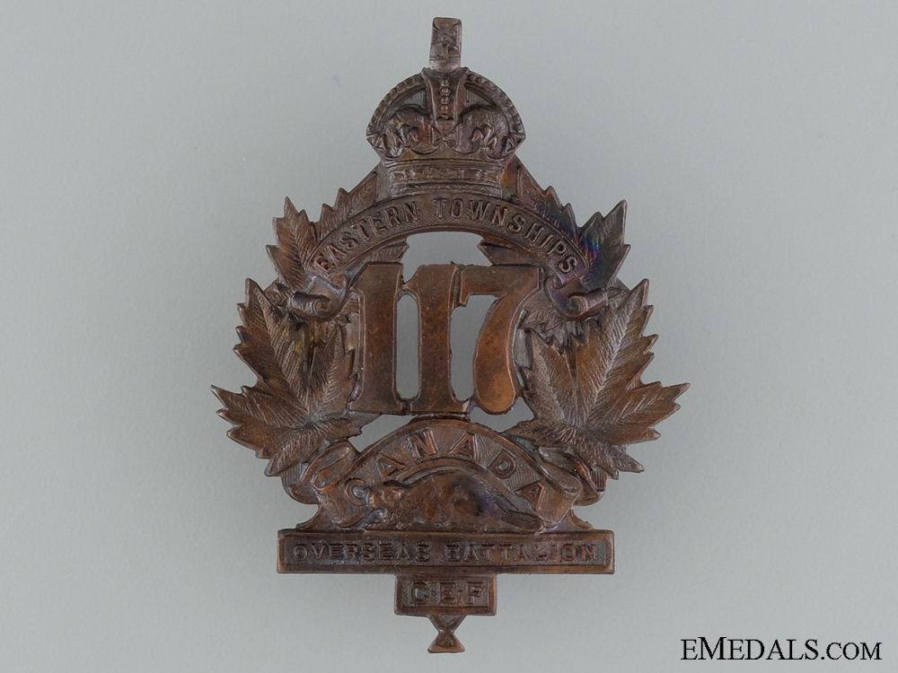 "eMedals-WWI 117th Battalion ""Eastern Township Battalion"" Cap Badge"