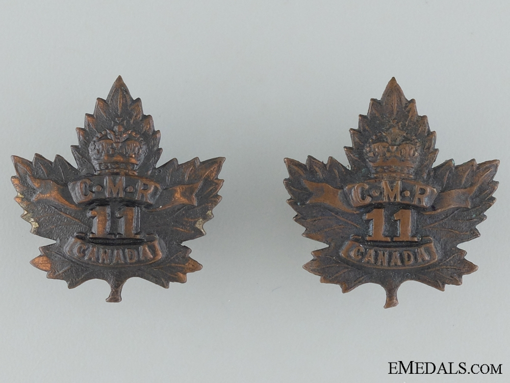 eMedals-WWI 11th Mounted Rifle Battalion Collar Badge Pair
