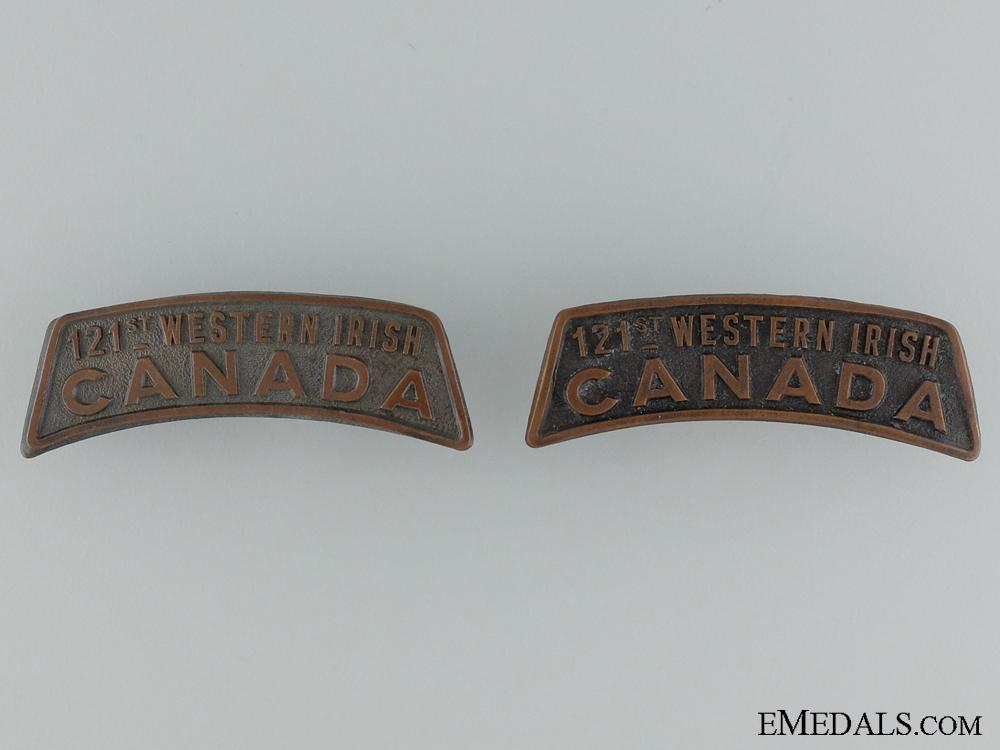 eMedals-WWI 121st Infantry Battalion Shoulder Title Pair CEF