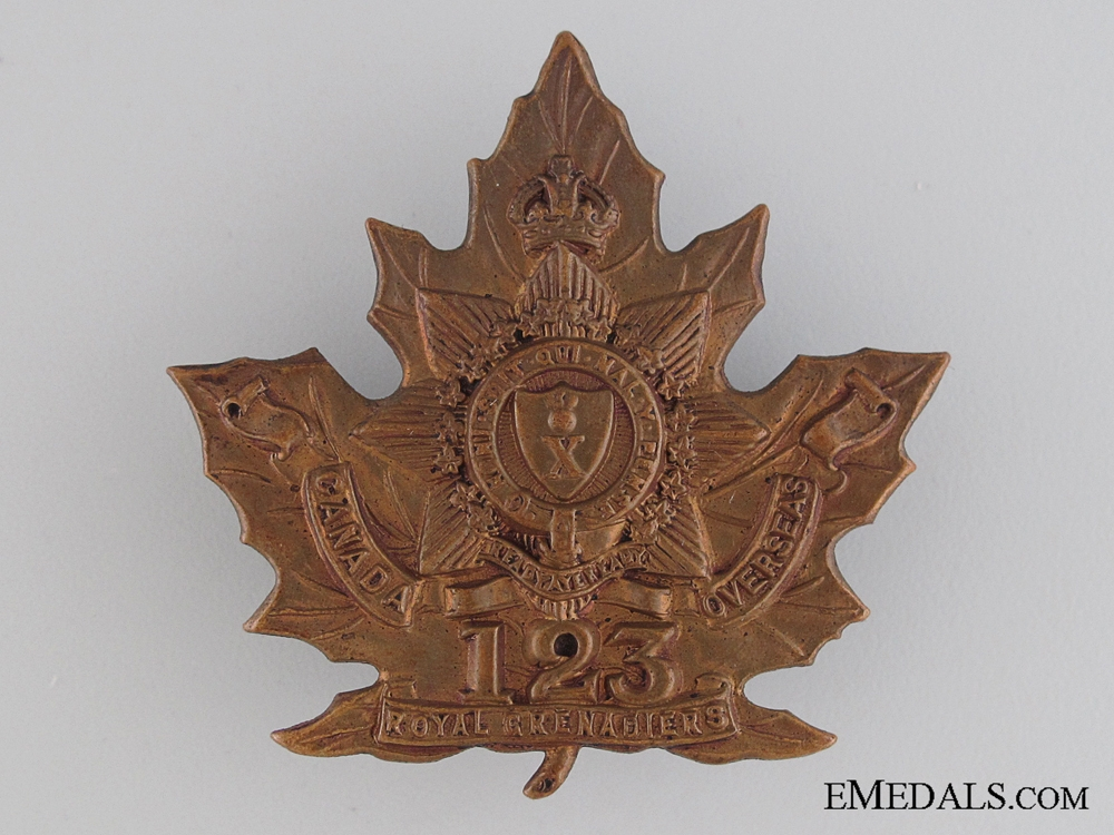 eMedals-WWI 123rd Infantry Battalion Cap Badge CEF
